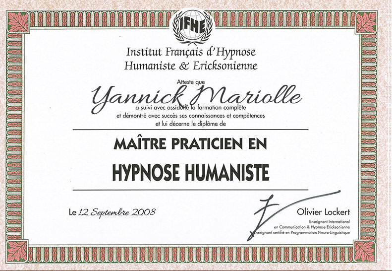 yannick diplome hypnose humaniste