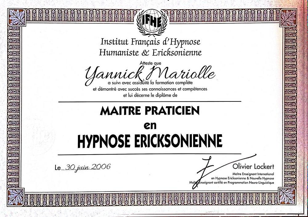 yannick diplome hypnose ericksonnienne