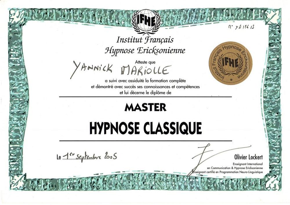 yannick diplome hypnose classique